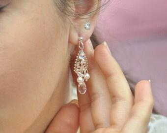 Bridal earrings, jewelry baroque marriage