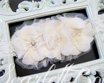 Off White/Ivory Lace Baby Headband, Girl Headband