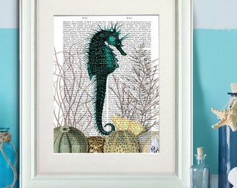 Seahorse and sea urchins - Seahorse wall decor nautical print beach house decor seahorse art Wall Art sea horse Décor Wall Hanging