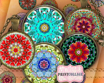 Mandala circles - Digital Printable Sheet Cabochon images 1.5 inch 1 inch 18 mm 14 mm round images Printable images Instant download C191