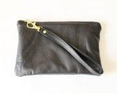 Repurposed Leather Wristlet Zipper Pouch / Black
