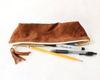 Repurposed Suede Pencil Case Zipper Pouch / Chocolate Brown
