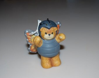 """Lucy Rigg Enesco Butterfly Teddy Bear Figurine 1991 Lucy and Me 2.75"""""""