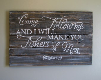 Hand painted Matthew 4:19 Fishers of Men pallet sign scripture, bible verse, boys nursery room decor