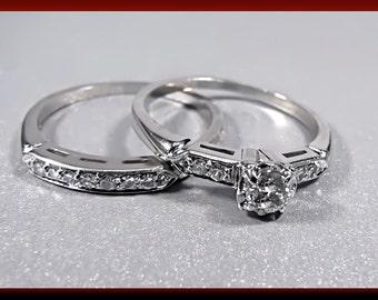 Vintage 14K White Gold Diamond 1950's Engagement Ring and Wedding Ring Set