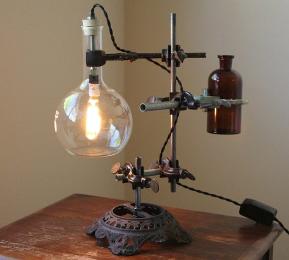 Industrial desk lamp, steampunk lamp, industrial lamp, industrial table lamp, antique chemistry and laboratory science, studio light, vase