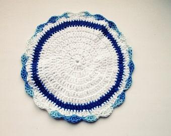 Crochet eco friendly trivet hot pad  - blue-white