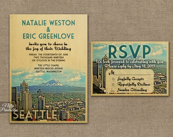 Seattle Wedding Invitation - Printable Vintage Seattle Washington Wedding Invites -  Seattle Skyline Retro Wedding Suite or Solo VTW