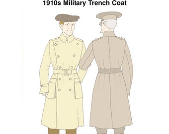 1910s Military Trench Coat Sewing Pattern from Reconstructing History