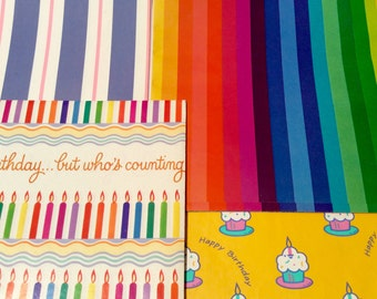 Vintage 1980s Lot of 4 Rainbow, Striped, Primary Color Wrapping Paper