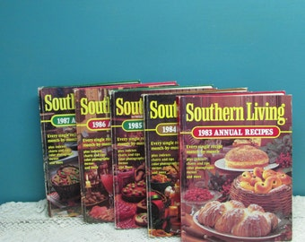 Southern Living Annual Cookbooks ~ Set of 5 ~ 1983~1984~1985~1986~1987 ~ Vintage Cookbooks ~ Home Cooking ~ Family Recipes ~ Recipe Book
