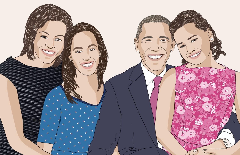 Portrait de famille personnalisé 4 personnes dessin