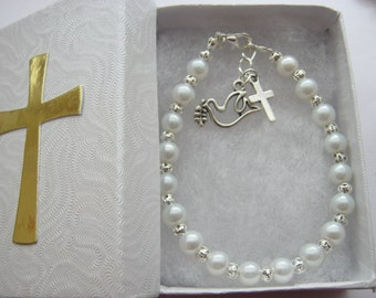 Girls Confirmation Bracelets with Dove and Cross Charms Holy Confirmation Religious Jewelry Christian Gifts