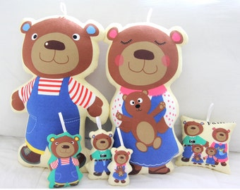 Brushed Cotton Panel Fabric Bear By The Panel