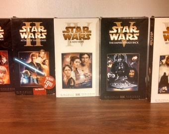 Star Wars: The Phantom Menace, Attack of The Clones, A New Hope, The Empire Strikes Back, Return of The Jedi - VHS Movies, Gamer Films