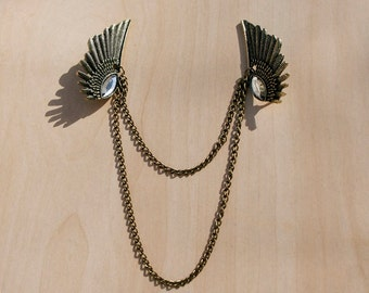 Jeweled Wing Brooch Necklace