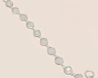 10 pcs rainbow moonstone connectors bracelet silver tone  9 inch