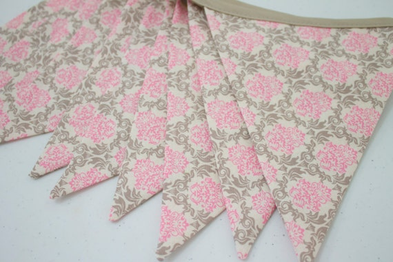 Items similar to pink gray grey damask fabric bunting for Pink and grey nursery fabric