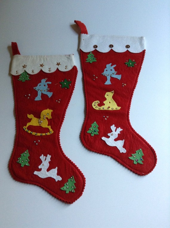 Two Vintage Red Felt Christmas Stockings. Handmade felt