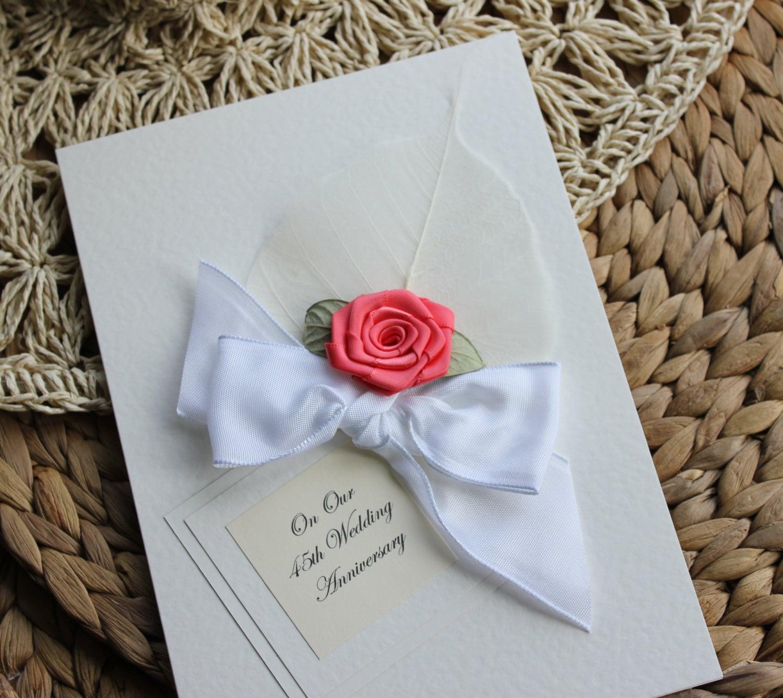 45th Wedding Anniversary Gift Ideas Uk : Personalised Handmade Anniversary Card Coral 35th Wedding Mum