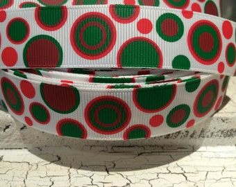 "3 yards 7/8"" Whimsical Christmas Polka Dot Red Green and White"