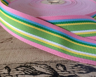 """3 yard 7/8"""" Preppy Spring Pink Green and More STRIPE multicolored Grosgrain Ribbon"""