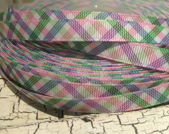 3 yards PREPPY SPRING PLAID Pink Green Blue and more on White Grosgrain Ribbon