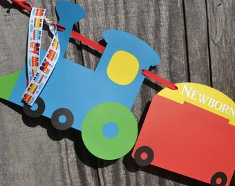 First Year Photo Banner, First Year Train themed banner, 0-12 Month banner