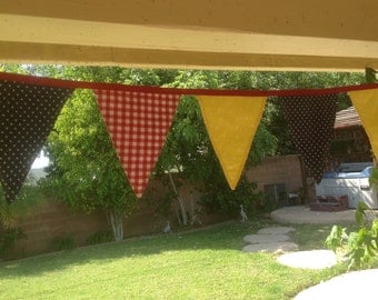 Red, blue and yellow banner, bunting, outdoor decor or BBQ