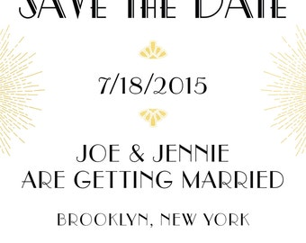 Art Deco Gatsby gold Save The Date