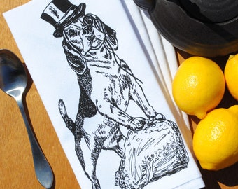 Black Beagle Table Napkins - Screen Printed Cotton Napkins - Dog Prints - Fabric Napkins - Washable Reusable Table Linens