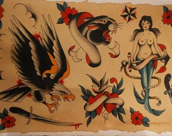 Sailor tattoo flash traditional - print