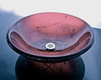 "Glass Bathroom Sink Vanity Bowl, ""Joie De Vivre"" - Pale Purple"