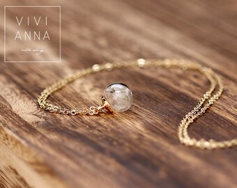 14K gold-plated mini Dandelions chain, Real DANDELION SEEDS tube necklace,Horizontal glass, delicate gold necklace k279