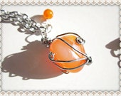 Orange Stone Necklace~Wire Wrapped Stone Necklace~Wire Wrapped Orange Stone Pendant Necklace~Orange Dangle Beaded Charm