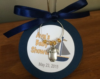 Baby Shower Wine Charm Favor, Personalized, Baby Theme, Party Favor Tag