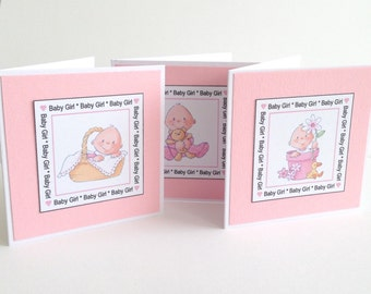 4 Cute Mini Baby Boy Shower Thank you Cards Invitations Birth announcement card making Scrapbooking Craft Project Gift tags
