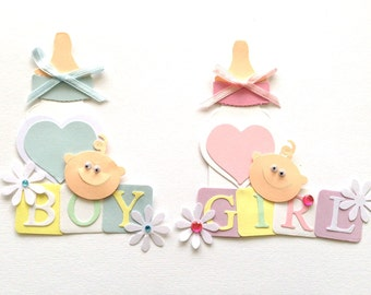 2 Handmade Baby Girl & Baby Boy Card Toppers Ready to use on a card blank or scrapbook project