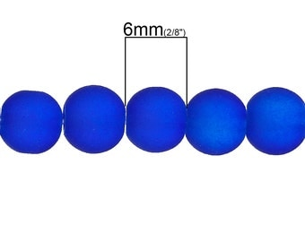 20 Cobalt Blue Frosted Glass Beads Fluorescent Colors Electric Blue 6mm 3827