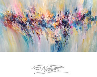 "Large Abstract Painting 61.0 "" x 29.5 "" Original XL Acrylic, unstrechted,  Artist Peter Nottrott."