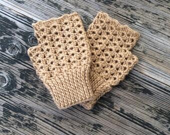 Beige Fingerless Gloves Beige Mittens Handknit Gloves Handwarmer Winter Fashion