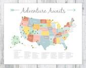 Adventure Awaits US National Park Map, Nursery/Kids Print (24 x 36)