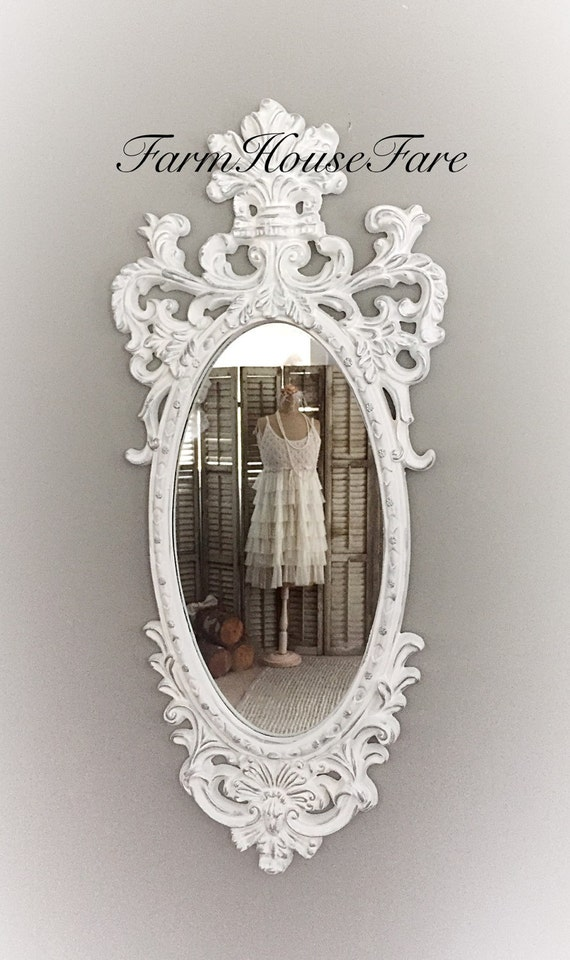Large white ornate mirror shabby chic baroque by farmhousefare for White baroque style mirror