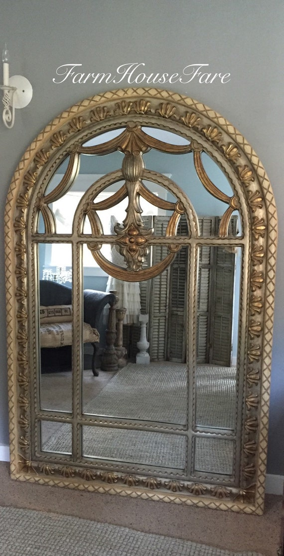 Large gold leaning mirror arched wall hanging by farmhousefare for Leaning wall mirror