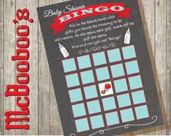 Chalkboard BINGO baby shower game cards INSTANT DOWNLOAD