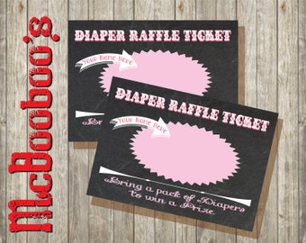 Chalkboard Baby Shower Diaper Raffle Tickets in Pink-INSTANT DOWNLOAD
