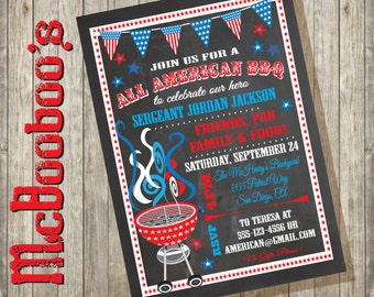 Chalkboard All American BBQ welcome home Military party or Election Campaign Poster