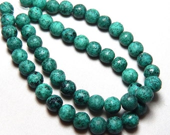 8mm Turquoise Picasso Czech Beads, Rustic Round Beads, Turquoise Beads, 8mm Beads, 8mm Glass Beads, 8mm Czech Beads T-001A