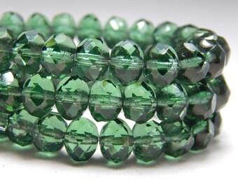 8x6mm Forest Green Czech Beads, Dark Green Beads, Earthy Beads, Green Crystal Beads, Glass Beads, Czech Rondelles, Faceted Beads T-70B
