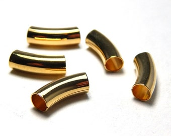 5 Gold Curved Tube Beads 15x5, Golden Tube Beads, Jewelry Tubes, Gold Beads Curved Tube Beads, Large Hole Beads, Slider Beads A-037A